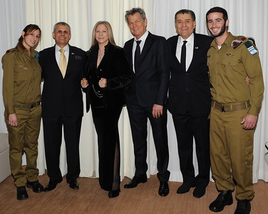 "(L-R) IDF Soldiers pose with FIDF National Director Yitzhak ""Jerry"" Gershon, Barbra Streisand, David Foster & Haim Saban at the Friends of the IDF Fundraising Gala in  Los Angeles, CA November 2011"
