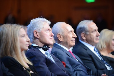 (L-R) Barbra Streisand, United States President Bill Clinton, President Shimon Peres, Prime Minister at Shimon Peres' 90th birthday in Jerusalem- July 2013