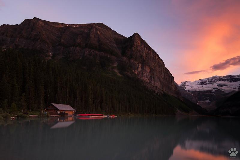 Lake Louise before sunset near Fairmont hotel