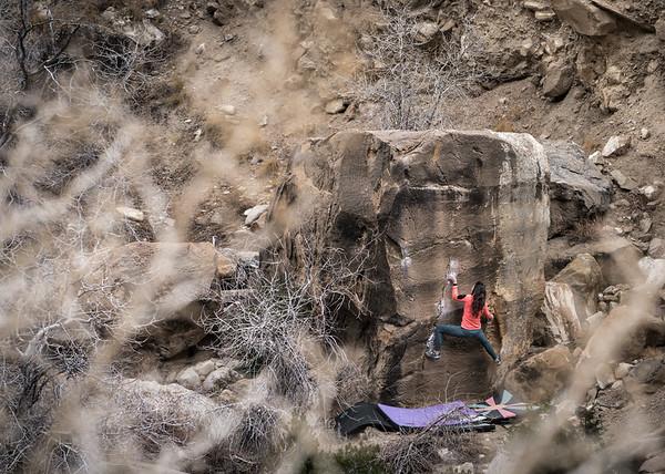 Area: Joes Valley, UT (New Joes) Boulder: Gatorade V5 Climber: Sarah Luk
