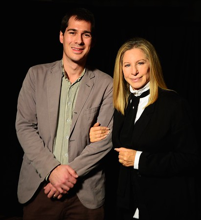(L-R) Journalist Joel Stein poses with Barbra Streisand at an event in Los Angeles, CA. November 2012