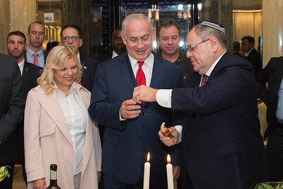 "Israeli Prime Minister Benjamin ""Bibi"" Netanyahu and New York Consul General Dani Dayan break bread together at a Shabbat Dinner in New York on September 15th, 2017."