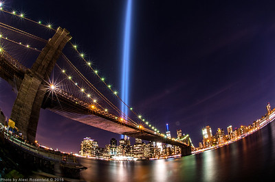 September 11 Tribute Lights as seen from Main park in DUMBO, Brooklyn.