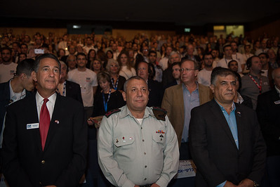 (L-R) FIDF President Peter Weintraub, IDF Chief of the General Staff Lt. Gen. Gadi Eizenkot, and FIDF National Director and CEO Maj. Gen. (Res.) Meir Klifi-Amir stand for Israel's National Anthem at an event at Tel Aviv University, Israel. November 2015