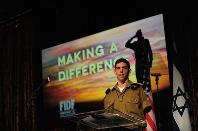 Staff Sergeant Izzy Ezagui (Res.), speaks at the Friends of the IDF Gala Dinner in Los Angeles, CA in 2010