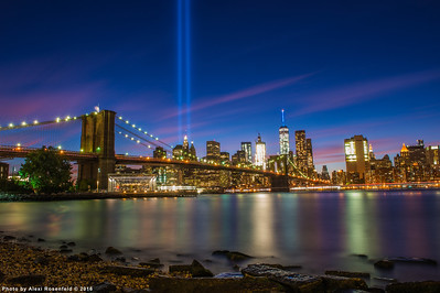 September 11 Tribute Lights as seen from Main park in DUMBO, Brooklyn