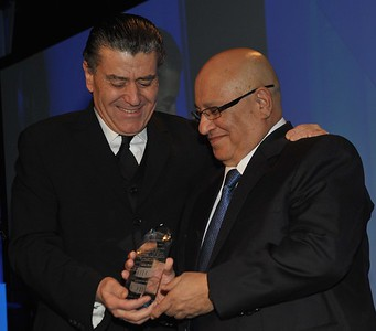 Former Director of the Mossad, Meir Dagan receives an award from Haim Saban at the Israeli Leadership Council Dinner in Los Angeles, CA- 2011