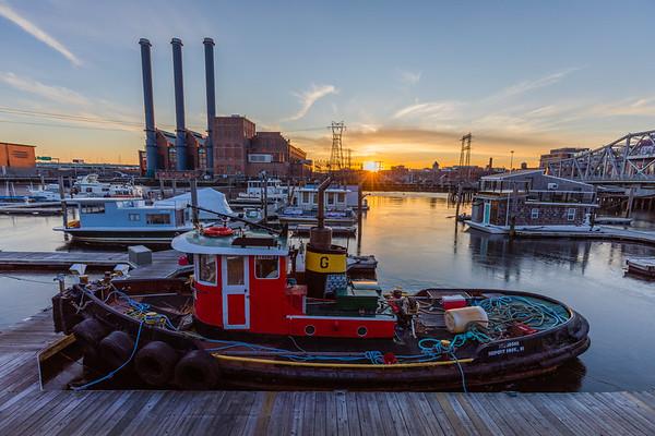 Boat Docked in Providence, RI