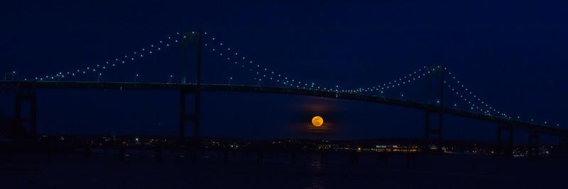 Full Moon under the Newport Pell Bridge