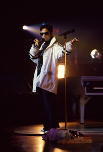 Photogrpah of Prince in concert.