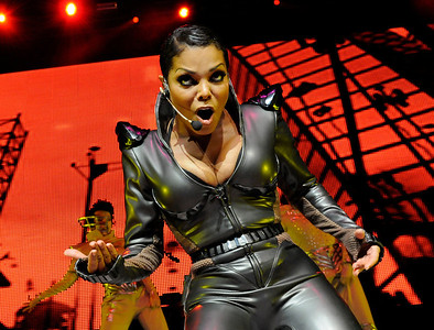Photograph of Janet Jackson in concert.