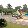 10/13/09 - Tuesday<br /> <br /> The dump trucks full of builder's sand delivered load after load all day to the center of the site through the east wall. IT took about 25 loads to fill up the site.