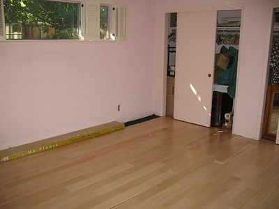We put birch floors in the master bedroom. I can't wait to paint over the pink walls!