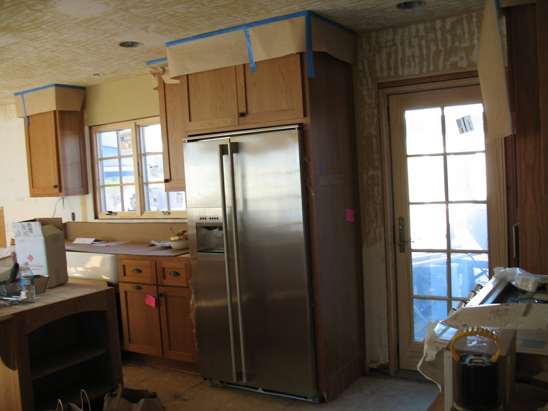 The new refrigerator was damaged when it was delivered and will be replaced soon.