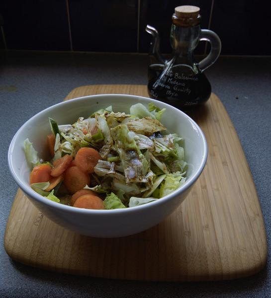 Lunch of fresh lettuce, cucumber, carrots and spring onions... with 15 year old balsamic vinegar