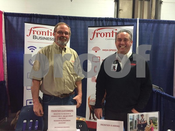Steve Johnson and Fred Kaiser from frontier the booth at the Home and Garden Show.