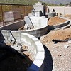 02/25/17: The radial, raised Planters are topped with flat block and are ready for stucco.