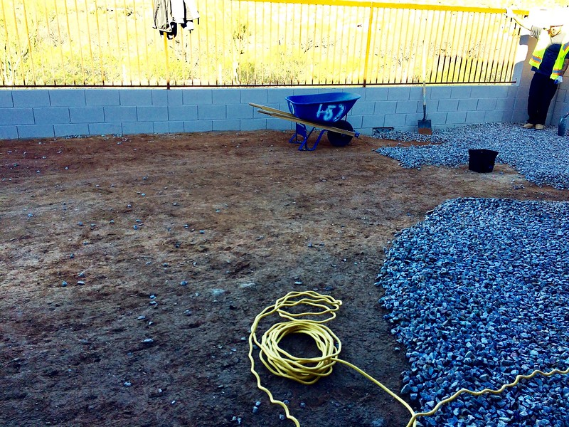 02/16/17: Gravel raked back to begin detailed measurements of the hardscape design and irrigation.