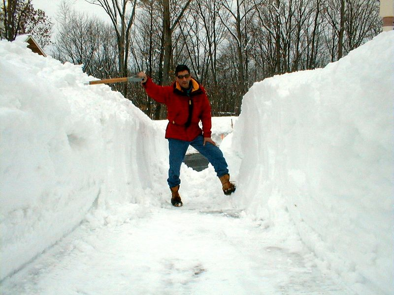 Shoveling the front walkway, March 10, 2001