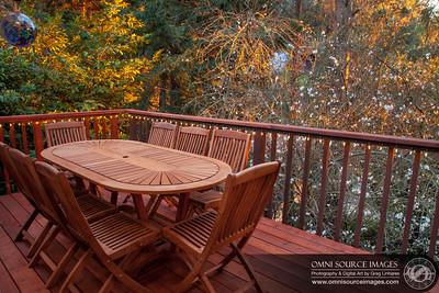 Redwood Deck Near Sunset in February