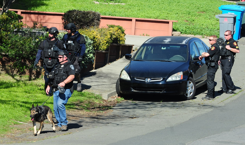 . (CHRIS RILEY �TIMES-HERALD) Vallejo Police and Solano Sheriff deputies work together to search for two homcide suspects on Thursday.