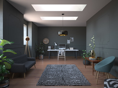 Green home office hallway with two skylights.