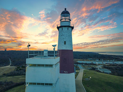 Montauk Point Lighthouse and Coast Guard Station. Wintry sunset looking West