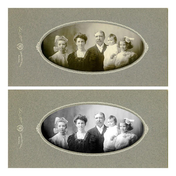 Original scan and restoratoin of Early 20th Century photo of the family of Jean Kalter's mother.  From left to right, Alma Stevenson, Mary Norman Stevenson (Nana), George Henry Stevenson, Dorothy Stevenson, Vera Stevenson (Jean Kalter's mother).<br /> <br /> This image is a restoration of a photo taken about 1905.