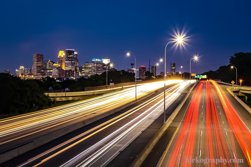 Long exposure of Minneapolis, MN shot from the Penn Ave bridge