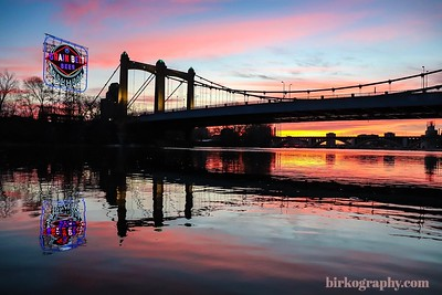 December sunrise at the Classic Grain Belt sign on the Mississippi River.  Shot from my kayak!  Minneapolis, MN