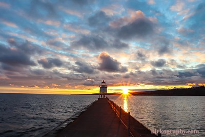 Sunset at the lighthouse in Two Harbors, MN