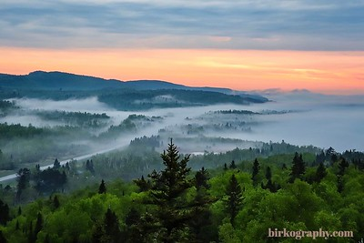 Mid summer morning fog along the north shore of Minnesota.  Shot from Palisade Head.