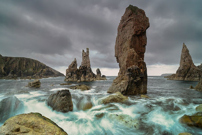 Mangersta sea stacks with sea motion blur,  located on the isle of Lewis, Outer Hebrides, Scotland.