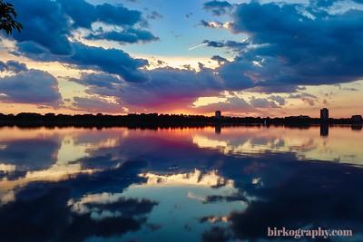 X marks the spot!  Summer sunset on Bde Maka Ska Lake, MN