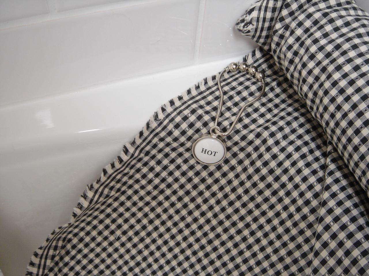 Shower curtain fabric, closeup; hook