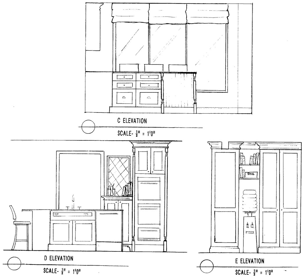 Kitchen elevations: drawers to left of sink; sink and dishwasher; side of ovens/water cooler/pantry
