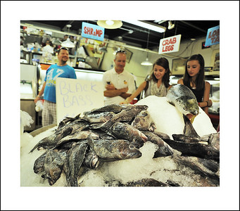 Buying fish on the Strip.
