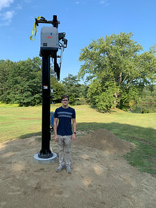 Andy poses by the new Solaflect tracker tower.