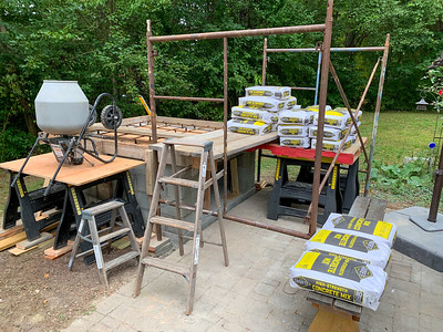 Staging the concrete for pouring the top base for the pizza oven.