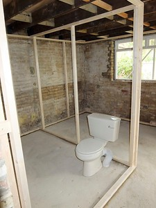 Bare inside and frame for shower room