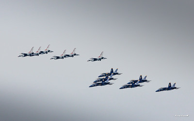 Thunderbirds and Blues together down the beach