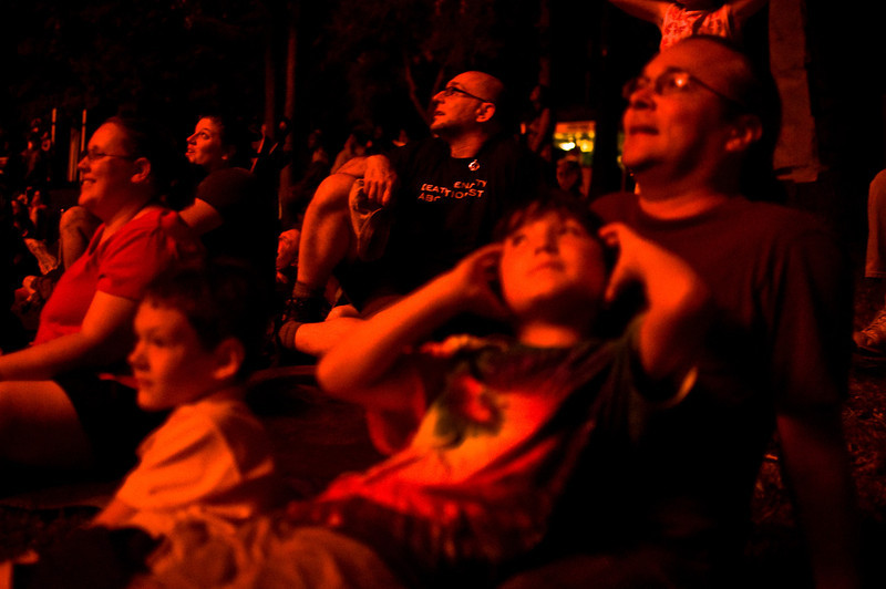 Title: Reactions from the Audience<br /> Date: May 2010<br /> Spectators take in the annual Cheverly Day fireworks.