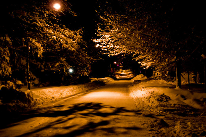 Title: Under the Tungsten Light<br /> Date: February 2010<br /> Cheverly Avenue at night after the first of two snow storms in February of 2010.