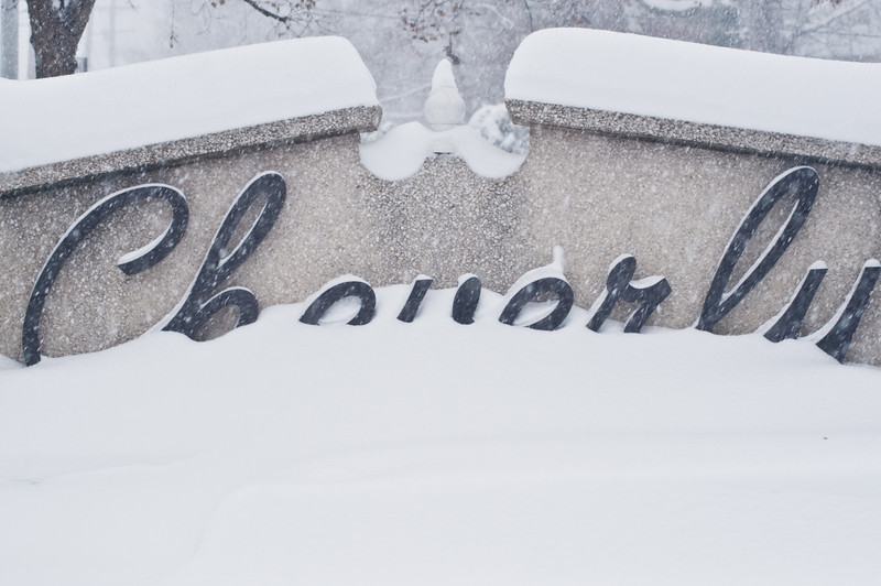 Title: Writing in the Snow<br /> Date: December 2009<br /> The Cheverly Sign buried in snow during a massive December snow storm.