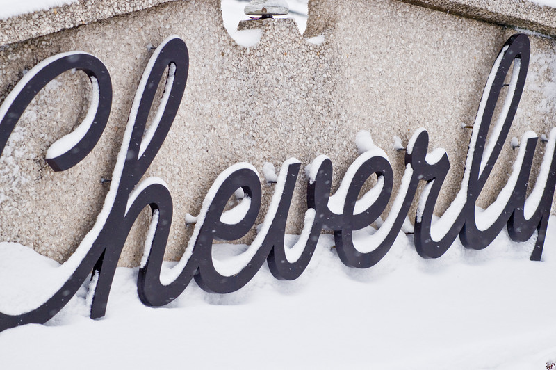 Title: Cheverly in the Snow<br /> Date: March 2009<br /> The Cheverly Sign outlined in snow.