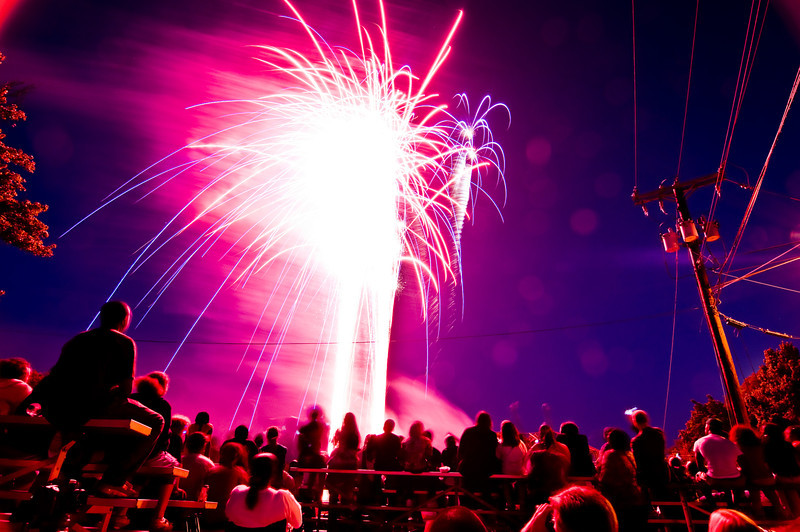 Title: The Wonder of Fireworks<br /> Date: June 2009<br /> Spectators taking in the annual Cheverly Day fireworks.