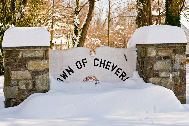 Title: Own of Chever<br /> Date: December 2009<br /> The Cheverly Sign along Carlyle Street buried in snow after a massive December snow storm.