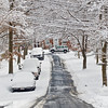 Title: Snow Road<br /> Date: March 2009<br /> A Cheverly Police car drives by a snow covered Inwood Street.