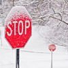 Title: Double Stop<br /> Date: March 2009<br /> Two stop signs, covered in snow, at Forest Rd and Lake Ave, after a snow storm.