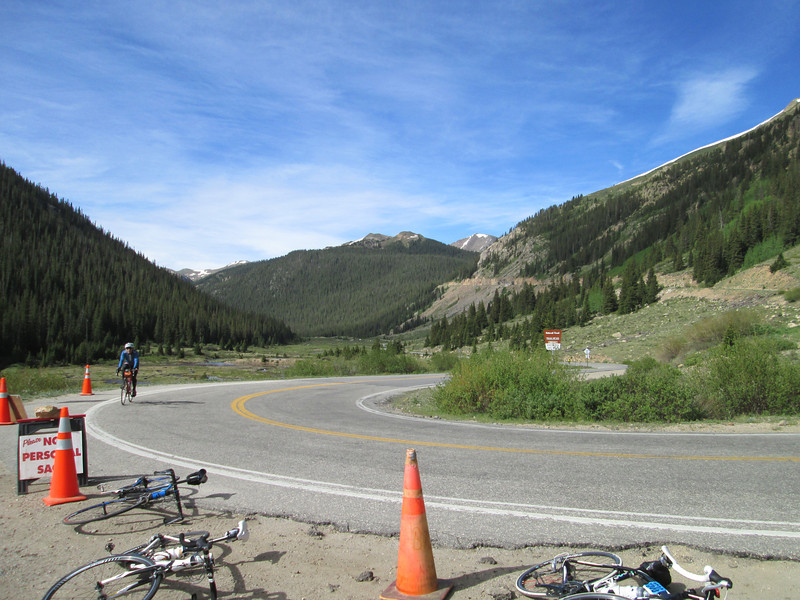 A switchback on Independence pass, this was about 5 miles from the summit, Day 2, going from Buena Vista to Carbondale.